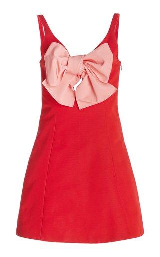 Bow Detail Cotton-Blend Mini Dress