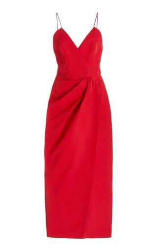 Wrap-Effect Cotton-Blend Midi Dress