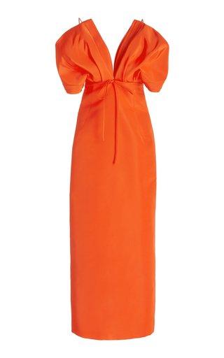 Bow-Detail Silk Midi Dress