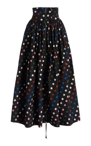 High Waist Gathered Cotton Skirt