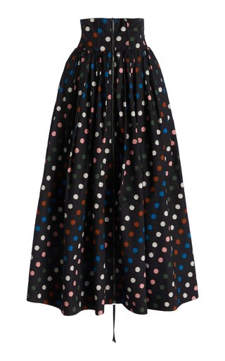 High-Rise Polka-Dot Cotton Maxi Skirt