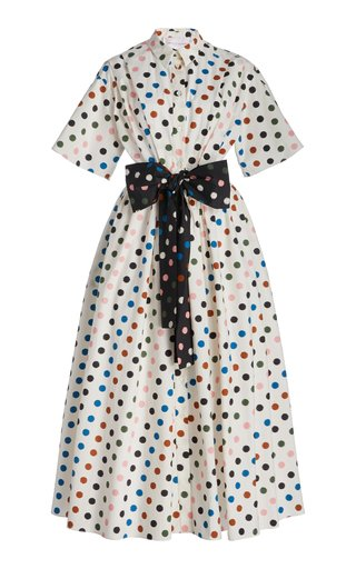 Printed Bow-Detail Cotton Dress