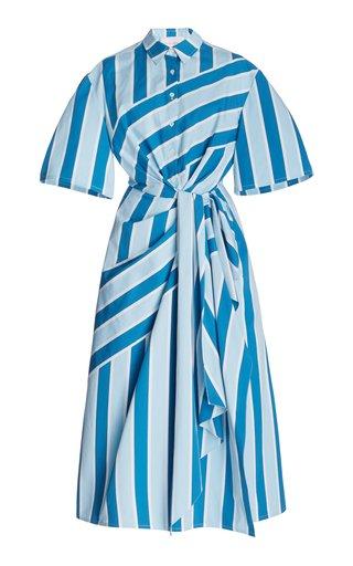 Printed Twist-Detail Cotton Shirt Dress