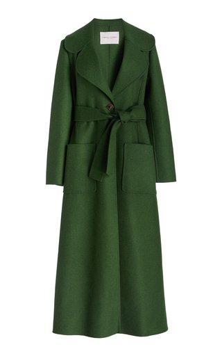 Belted Wide Lapel Wool-Blend Coat