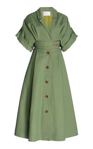 Collared Cotton-Blend Shirt Dress