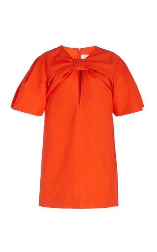Knot-Detail Cutout Cotton Dress