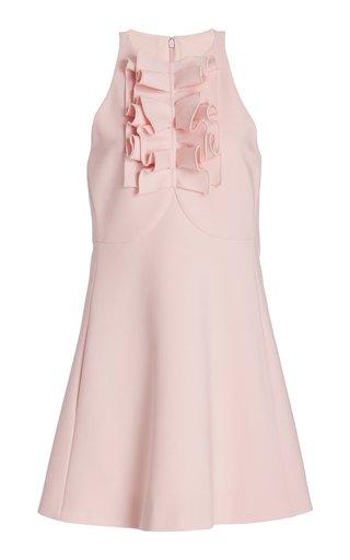 Ruffle Detail Wool-Blend Mini Dress