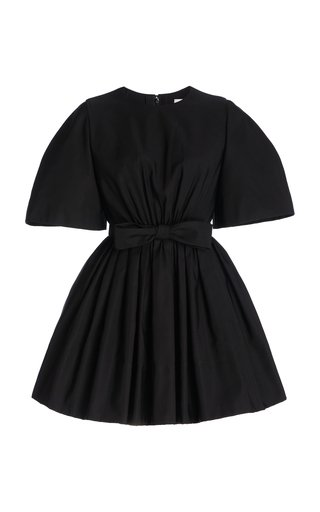 Gathered Bow-Detail Cotton-Blend Dress