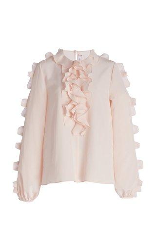 Ruffle Detail Silk Blouse