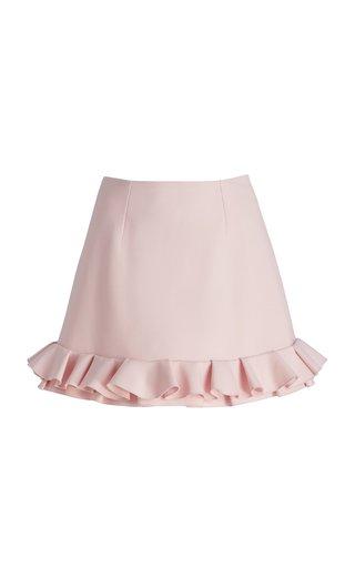 Ruffled Hem Wool-Blend Mini Skirt