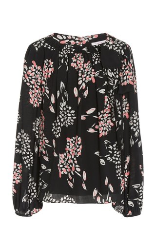 Printed Bow-Detail Crepe Blouse