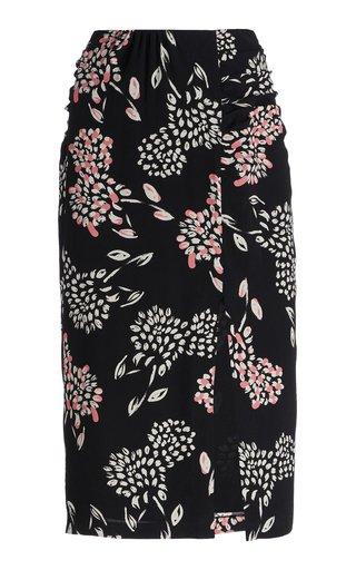 Floral Ruched Crepe Skirt