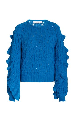 Ruffle-Detail Knitted Cotton Top