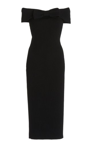 Ribbed Bow-Detail Knit Dress