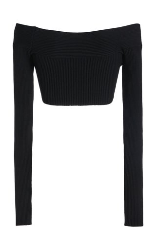 Off-The-Shoulder Cropped Jersey Top