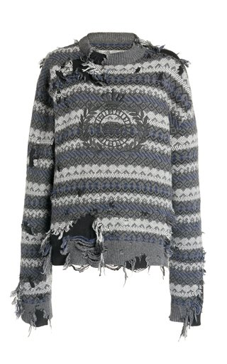 Destroyed Logo-Embroidered Wool-Blend Sweater