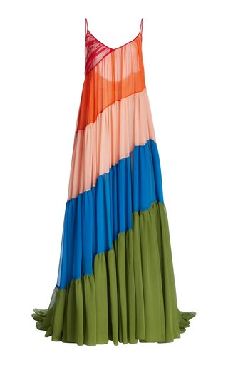 Asymmetric Tiered Organza Gown