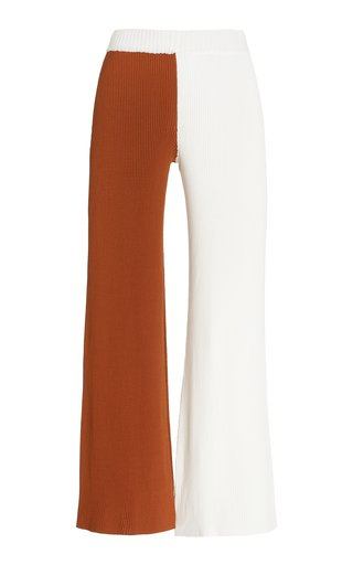 Fama Colorblocked Ribbed-Knit Pants