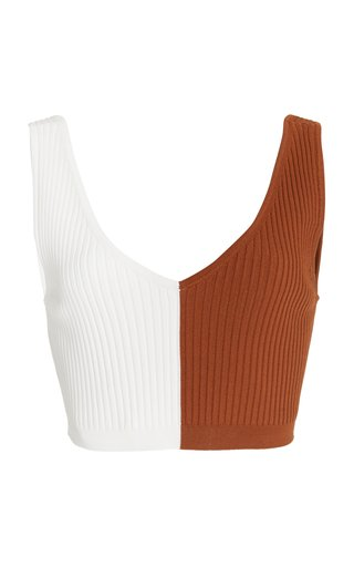 Hana Colorblock Ribbed-Knit Crop Top