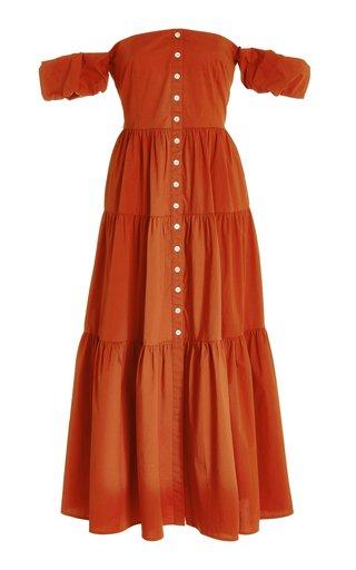 Elio Off-The-Shoulder Cotton Poplin Midi Dress