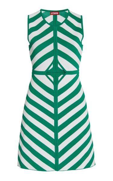 Bondi Cutout Striped Compact-Knit Mini Dress