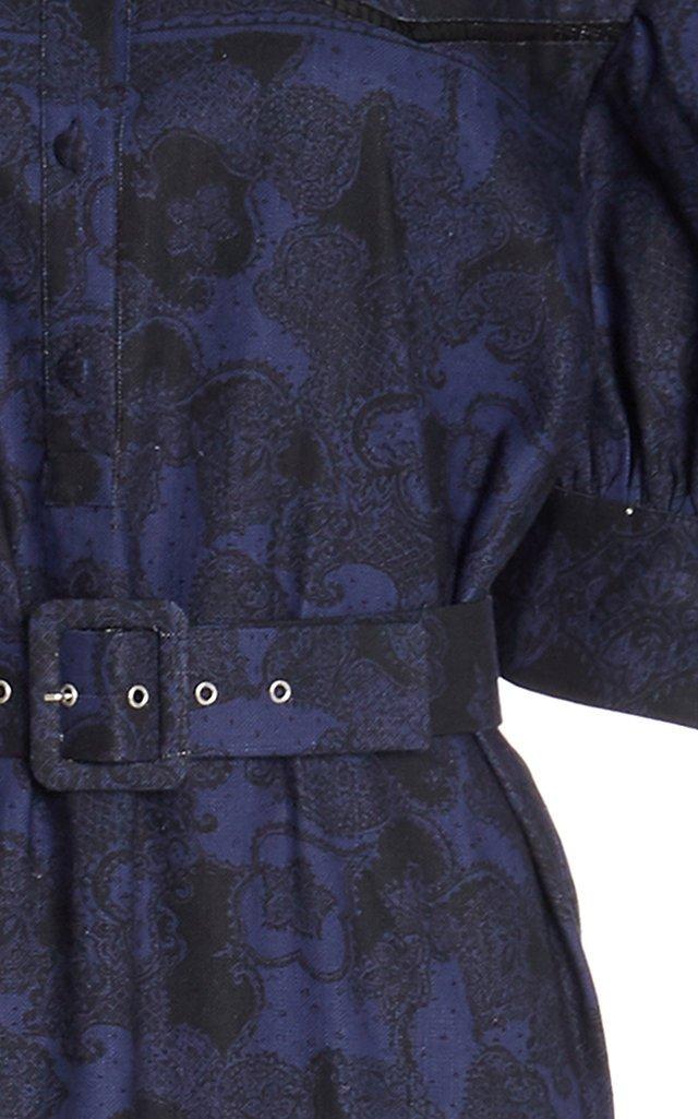 Teodosia Puff Sleeve Linen-Cotton Midi Dress