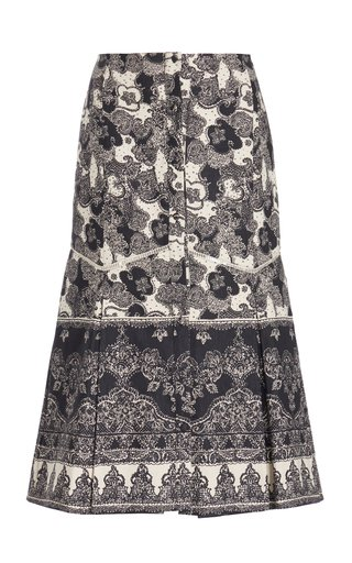 Tania Printed Linen-Cotton Midi Skirt