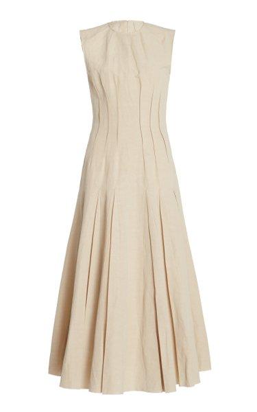Teena Pin-Tucked Cotton-Linen-Silk Midi Dress
