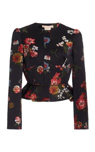 Talia Floral-Printed Cotton-Blend Peplum Jacket