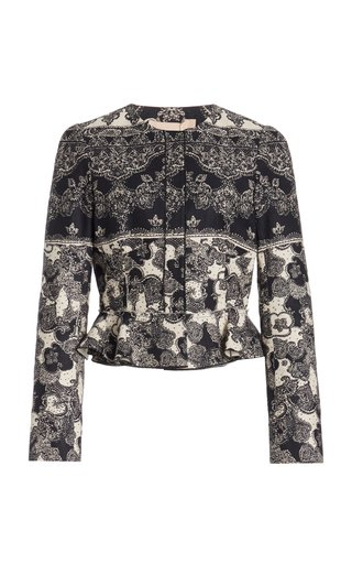 Talia Printed Linen-Cotton Jacket