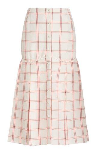 Tamala Printed Linen-Silk Skirt