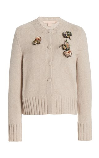 Tonia Embellished Wool-Blend Cardigan