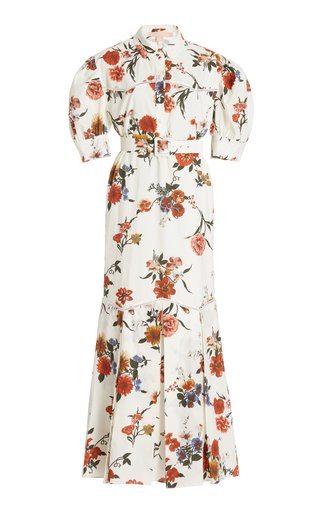 Teodosia Puff Sleeve Cotton Midi Dress