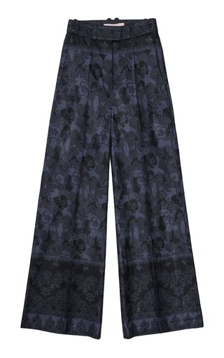 Tea Printed Linen-Cotton Pants