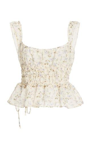 T-Silvia Floral-Printed Linen-Cotton Peplum Top