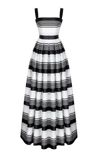 Striped Jacquard Maxi Dress With Voluminous Skirt