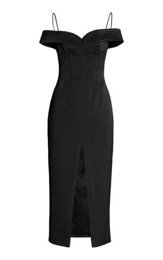 Off-The-Shoulder Crepe de Chine Midi Dress