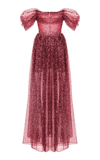 Draped Sequined Tulle Maxi Dress With Voluminous Skirt