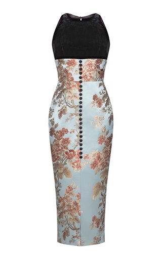 Button-Embellished Floral Jacquard And Silk Velvet Front-Slit Midi Dress