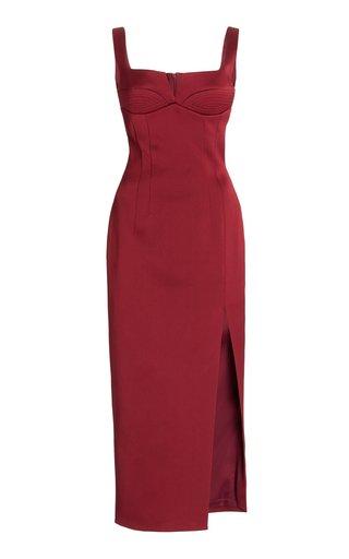 Sweetheart-Neck Crepe de Chine Midi Dress