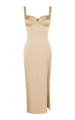 Satin Midi Dress With Stitching
