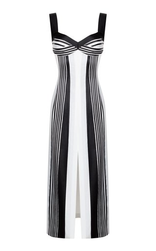 Striped Jacquard Front-Slit Midi Dress