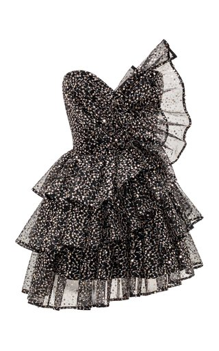 Ruffled Sequined Tulle Corset Mini Dress