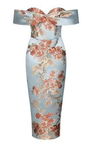 Cold-Shoulder Floral Jacquard Corset Midi Dress