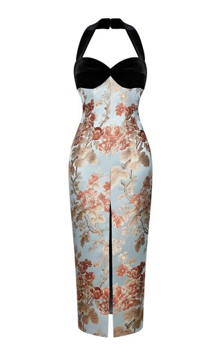 Floral Jacquard And Silk Velvet Front-Slit Midi Dress