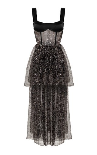 Sequined Tulle And Satin Midi Dress With Voluminous Skirt