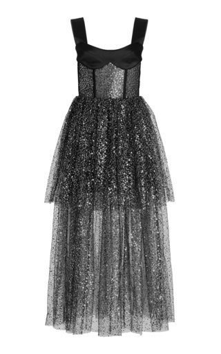 Satin and Sequined Tulle Maxi Dress