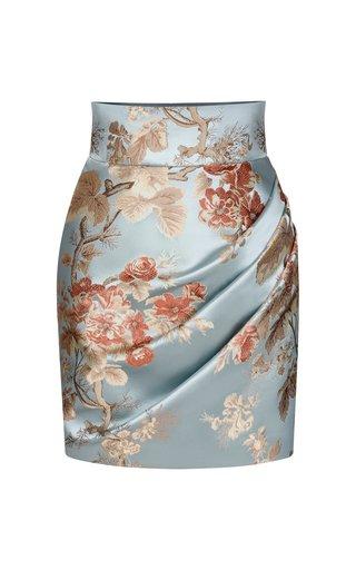 Draped Floral Jacquard Mini Skirt