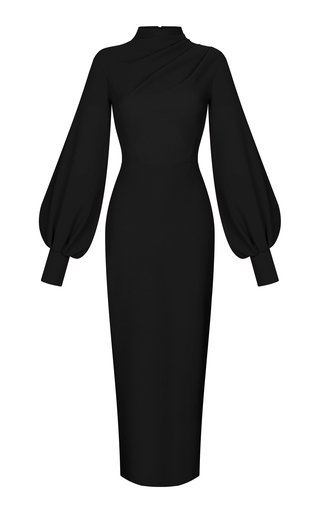 Draped Crepe Maxi Dress With Voluminous Sleeves