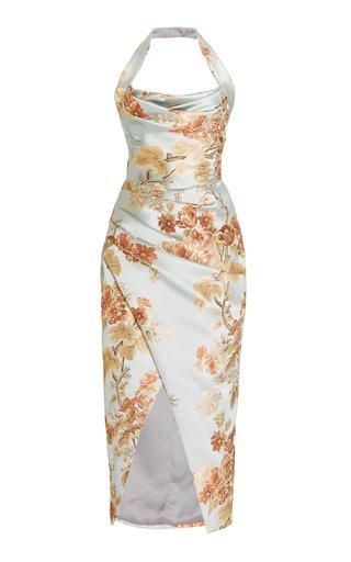 Draped Floral Jacquard Midi Halter Dress